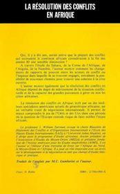 Resolution Des Conflits En Afrique - 4ème de couverture - Format classique