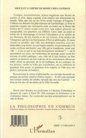 Lieux Et Lumiere De Rome Chez Ciceron - 4ème de couverture - Format classique