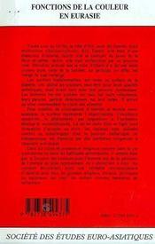 Revue Eurasie T.9 - 4ème de couverture - Format classique