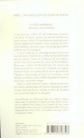 La fete imperiale ; memoires d'un libertin - 4ème de couverture - Format classique