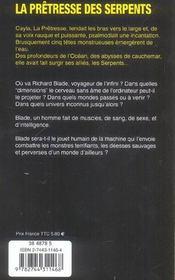 Blade t.9 ; la pretresse des serpents - 4ème de couverture - Format classique