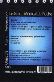 Examens biologiques - 4ème de couverture - Format classique