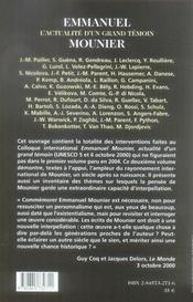 Emmanuel mounier, l'actualité d'un grand témoin t.2 - 4ème de couverture - Format classique