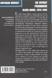 Un Voyant Prodigieux : Alexis Didier (1826-1866) - 4ème de couverture - Format classique