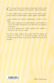 Prepa Economique Et Commerciale Option Scientifique - 4ème de couverture - Format classique
