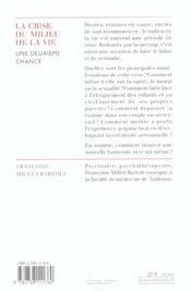 La crise du milieu de la vie ; une deuxième chance - 4ème de couverture - Format classique