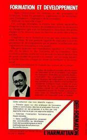 Formation Et Developpement:Vers Une Ingenierie De ... - 4ème de couverture - Format classique
