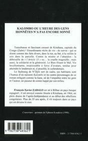 Kalombo Ou L'Heure Des Gens Honnetes N'A Pas Encore Sonne - 4ème de couverture - Format classique