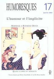 Humoresques N.17 ; L'Humour Et L'Implicite ; Hommage A Raymond Devos - Intérieur - Format classique
