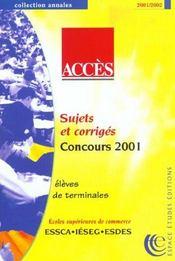 Acces ; Annales Des Epreuves 2001-2002 - Intérieur - Format classique