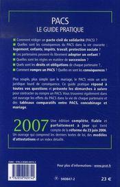 Pacs, le guide pratique (édition 2007) - 4ème de couverture - Format classique