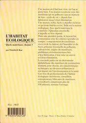 Habitat ecologique, quels materiaux choisir ? (l') - 4ème de couverture - Format classique