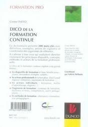 Dictionnaire de la formation professionnelle - 4ème de couverture - Format classique