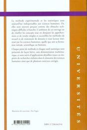 Methode Et Statistique Experimentales En Sciences Humaines - 4ème de couverture - Format classique