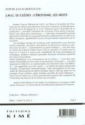 Jmg Le Clezio L'Erotisme Les Mots - 4ème de couverture - Format classique