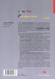 Memento procedure civile - 4ème de couverture - Format classique