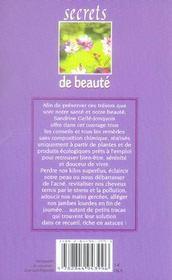 Secrets de beauté - 4ème de couverture - Format classique