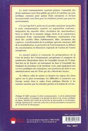 Droit Materiel Et Politiques Communautaires - 4ème de couverture - Format classique