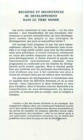 Reussites Et Deconvenues Du Developpement Dans Le Tiers-Monde - 4ème de couverture - Format classique