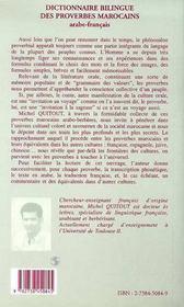 Dictionnaire Bilingue Des Proverbes Marocains T.1 - 4ème de couverture - Format classique