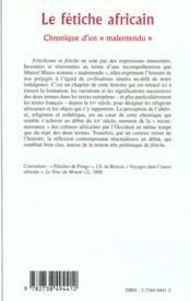 Le Fetiche Africain ; Chronique D'Un Malentendu - 4ème de couverture - Format classique