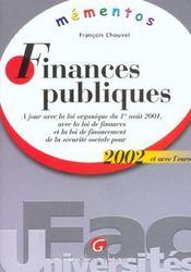 Memento Finances Publiques 2002 - Intérieur - Format classique