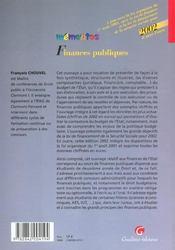 Memento Finances Publiques 2002 - 4ème de couverture - Format classique