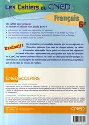 Les cahiers du cned ; français ; préparer la rentrée et réussir sa 6ème - 4ème de couverture - Format classique