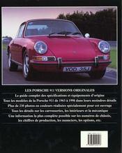 La Porsche 911 - Versions Originales - 4ème de couverture - Format classique