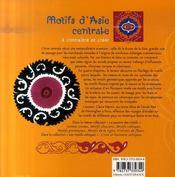 Motifs d'asie centrale a connaitre et a creer - 4ème de couverture - Format classique