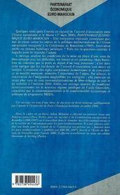 Partenariat Economique Euro-Marocain ; Une Integration Regionale Strategique - 4ème de couverture - Format classique