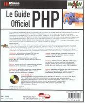 Le Guide Officiel Php - 4ème de couverture - Format classique