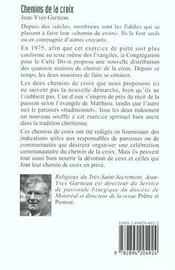 Chemins De La Croix:Route De Vie Selon L'Evang. De Matthieu - 4ème de couverture - Format classique