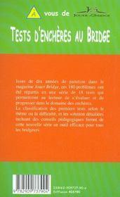 Tests D'Encheres Au Bridge - 4ème de couverture - Format classique