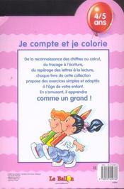 Je Compte Et Je Colorie - 4ème de couverture - Format classique