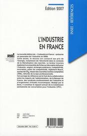 L'industrie en France (édition 2007) - 4ème de couverture - Format classique