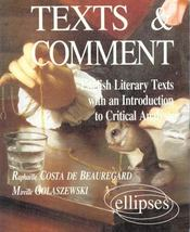 Texts & Comments English Literary Texts With An Introduction To Critical Analysis - Intérieur - Format classique
