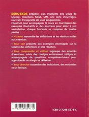 Topologie élémentaire ; suites ; fonctions d'une variable réelle ; limites - 4ème de couverture - Format classique