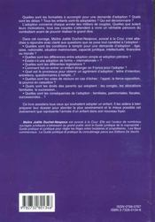 Guide Juridique Et Pratique De L'Adoption - 4ème de couverture - Format classique