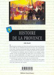 Histoire de la provence - 4ème de couverture - Format classique