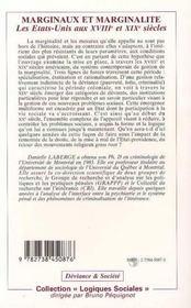 Marginaux Et Marginalite : Les Etats-Unis Aux Xviii Et Xix Siecles - 4ème de couverture - Format classique