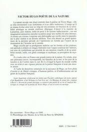 Victor Hugo ; Poete De La Nature - 4ème de couverture - Format classique