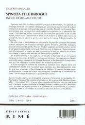 Spinoza Et Le Baroque - 4ème de couverture - Format classique