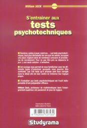 S'entraîner aux tests psychotechniques - 4ème de couverture - Format classique