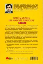 Mathematiques des marches financiers - 4ème de couverture - Format classique