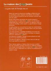 Maison des nega watts (la) - 4ème de couverture - Format classique