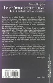 Le cinema, comment ça va ? lettre à Fassbinder suivie de onze autres - 4ème de couverture - Format classique