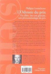 L'odyssée du prix ; vie chère, low-cost, gratuité, une phénomènologie du prix - 4ème de couverture - Format classique