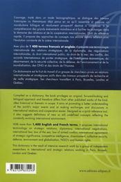 Dictionnaire français-anglais des relations internationales et stratégiques - 4ème de couverture - Format classique