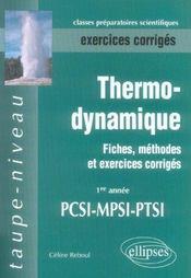 Thermodynamique ; 1re année mpsi, PCSI, PTSI - Intérieur - Format classique